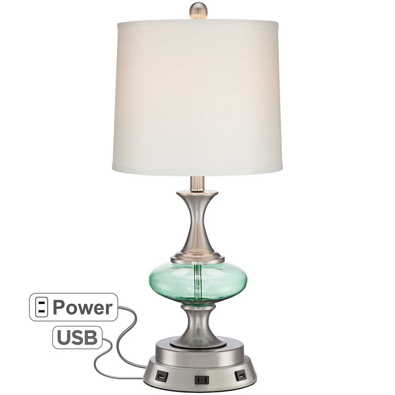 Reiner Blue-Green Glass Table Lamp with USB Workstation Base