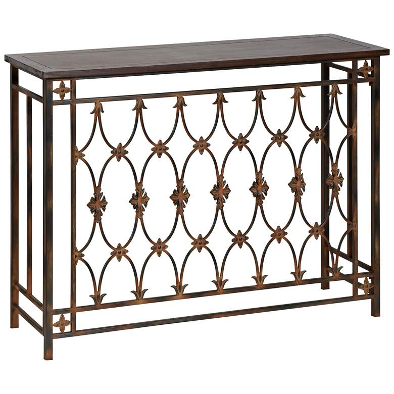 """Filagree 42"""" Wide Brown Natural Wood and Metal Console Table"""