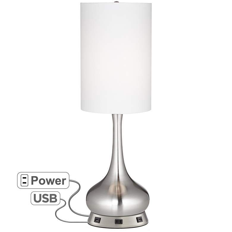 Brushed Nickel Droplet Table Lamp with USB Workstation Base