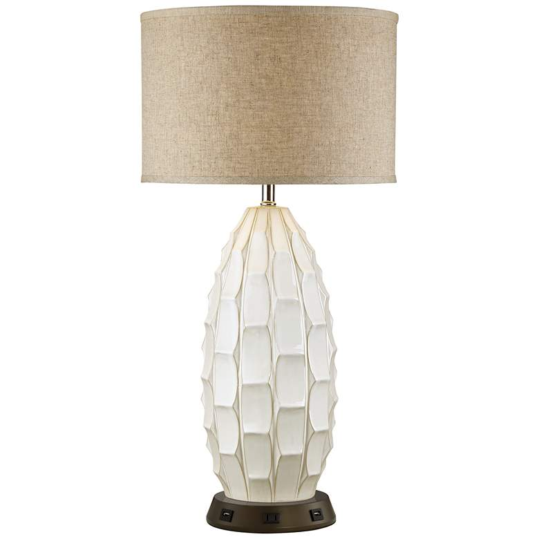 Cosgrove Oval White Ceramic Table Lamp with USB Workstation Base