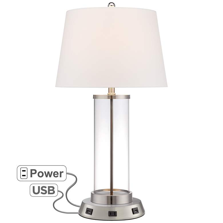 Steel Cylinder Fillable Glass Table Lamp w/ USB Workstation Base