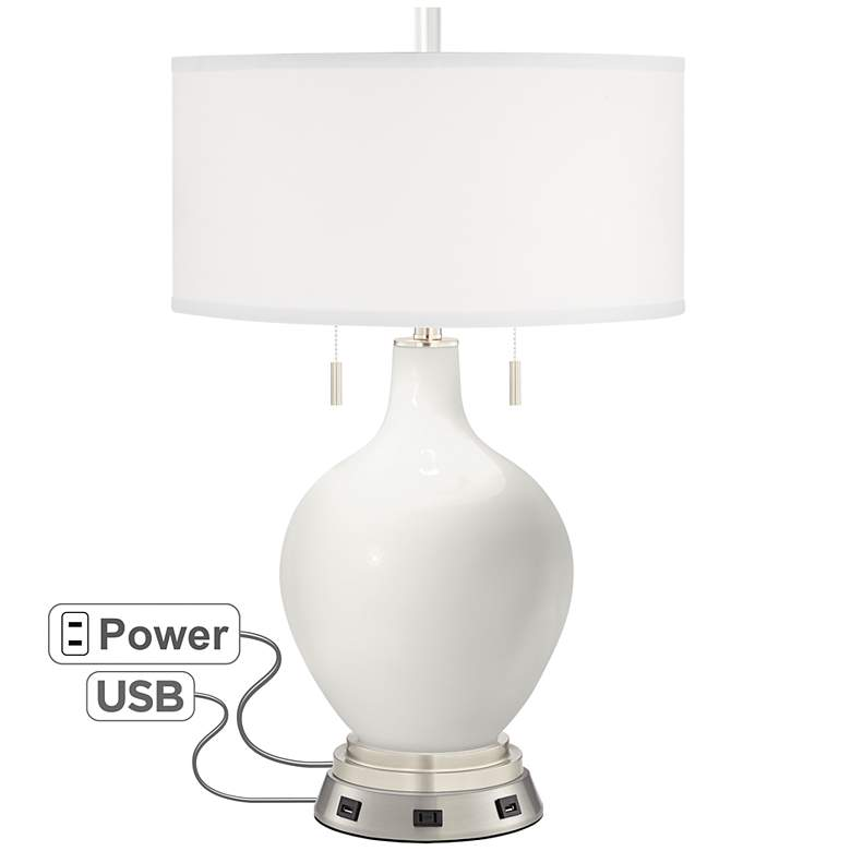 Winter White Toby Table Lamp with USB Workstation Base