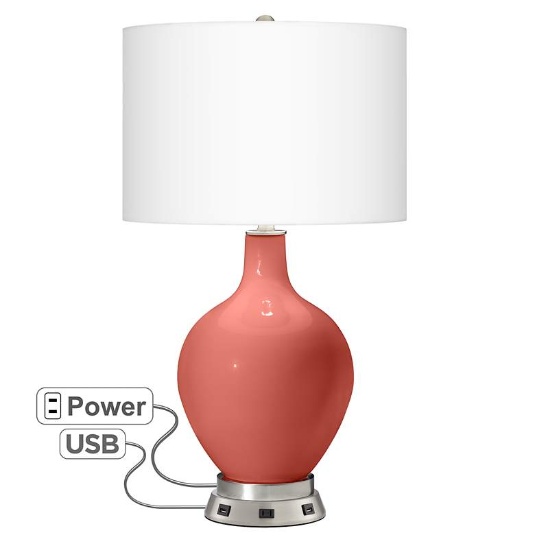 Coral Reef Ovo Table Lamp with USB Workstation
