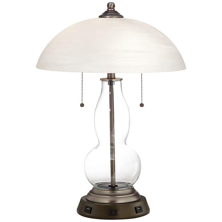 Clear Glass Fillable Gourd Table Lamp with USB Workstation Base