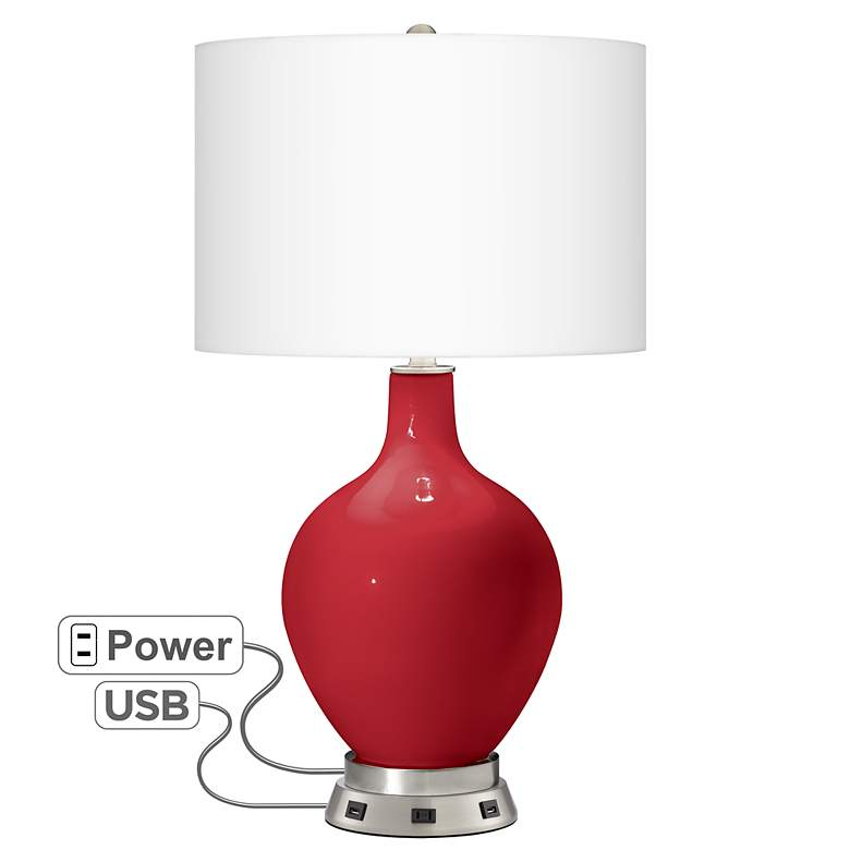 Ribbon Red Ovo Table Lamp with USB Workstation Base