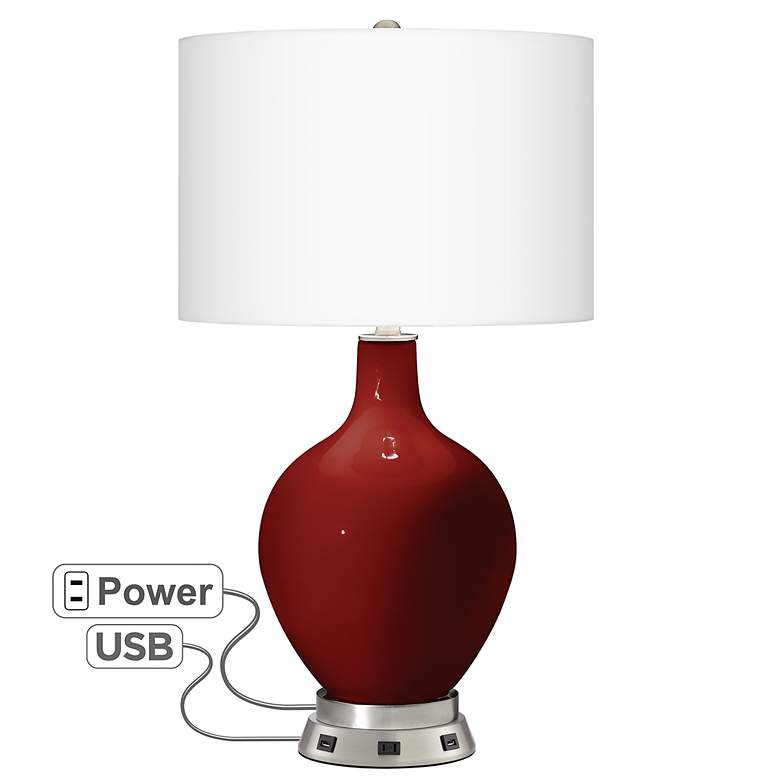 Cabernet Red Metallic Ovo Table Lamp with USB Workstation Base
