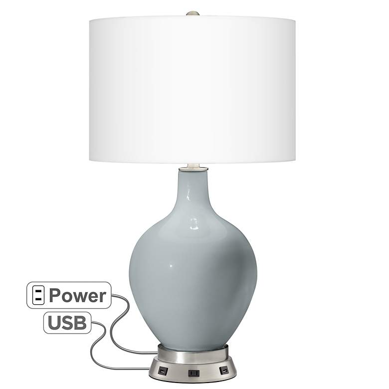 Uncertain Gray Ovo Table Lamp with USB Workstation Base