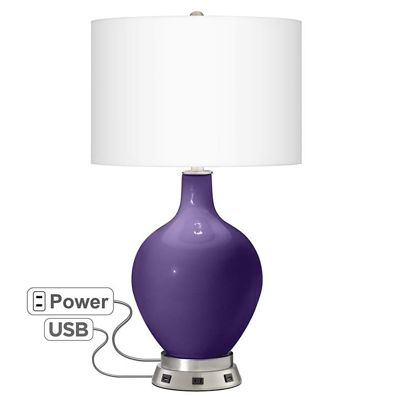 Izmir Purple Ovo Table Lamp with USB Workstation Base