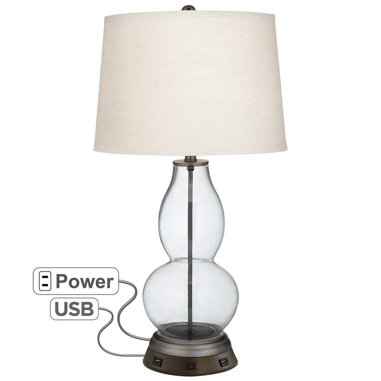 Glass Fillable Double Gourd Table Lamp with USB Workstation Base