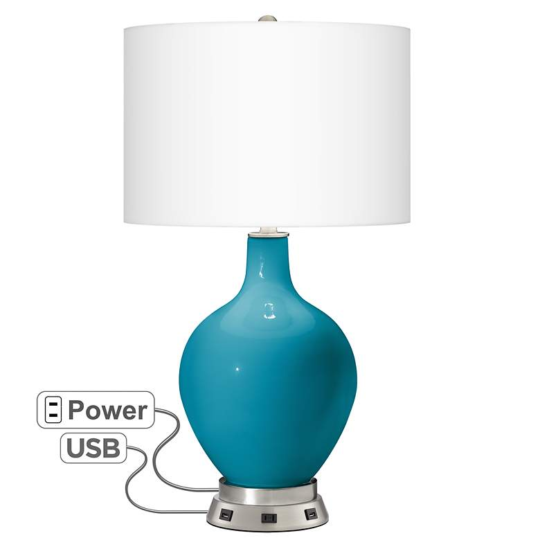 Caribbean Sea Ovo Table Lamp with USB Workstation