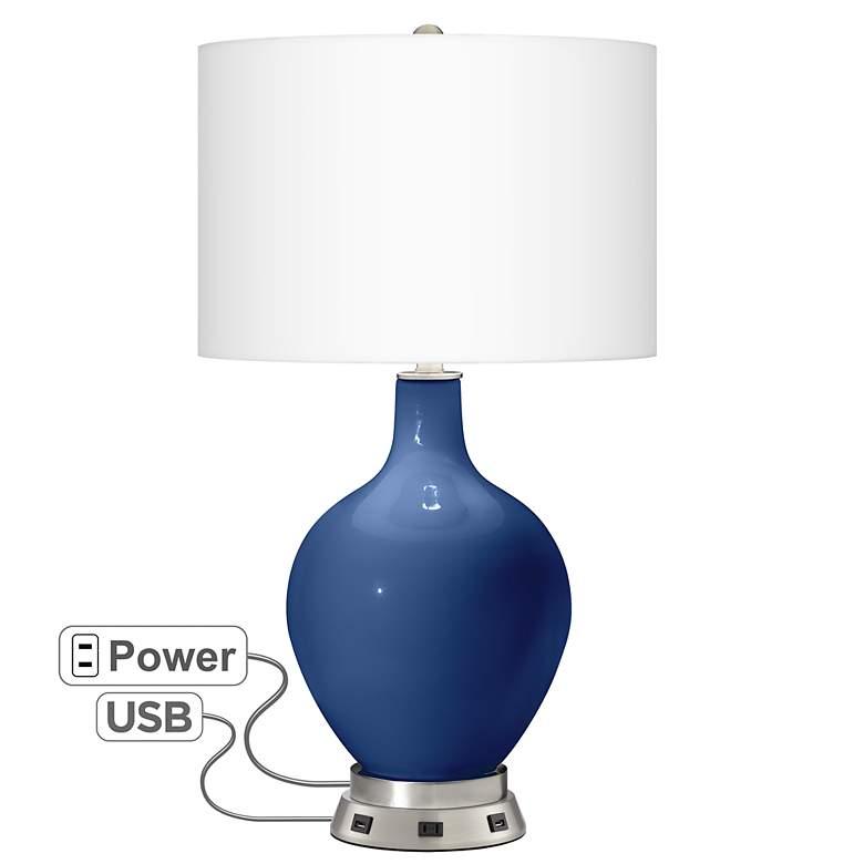Monaco Blue Ovo Table Lamp with USB Workstation Base