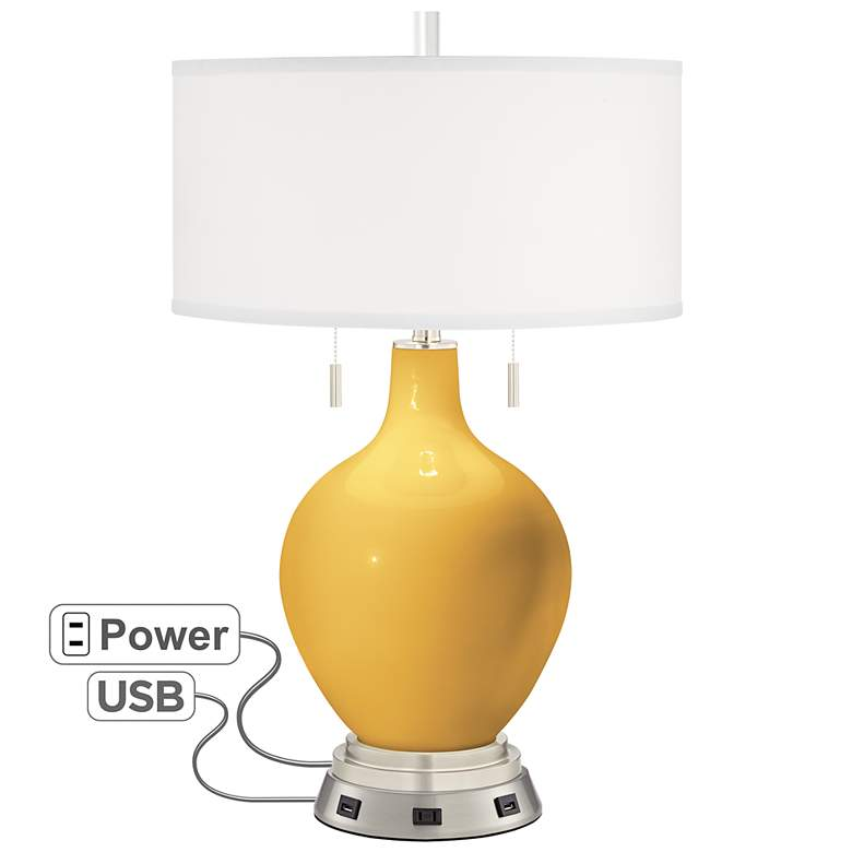 Goldenrod Toby Table Lamp with USB Workstation Base