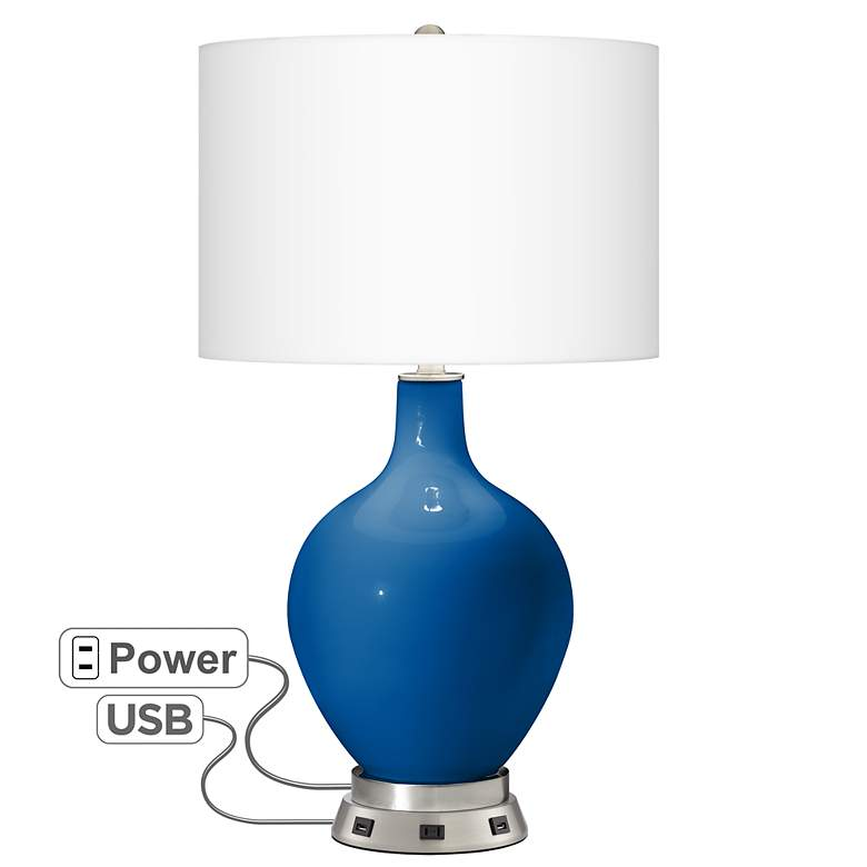 Hyper Blue Ovo Table Lamp with USB Workstation Base