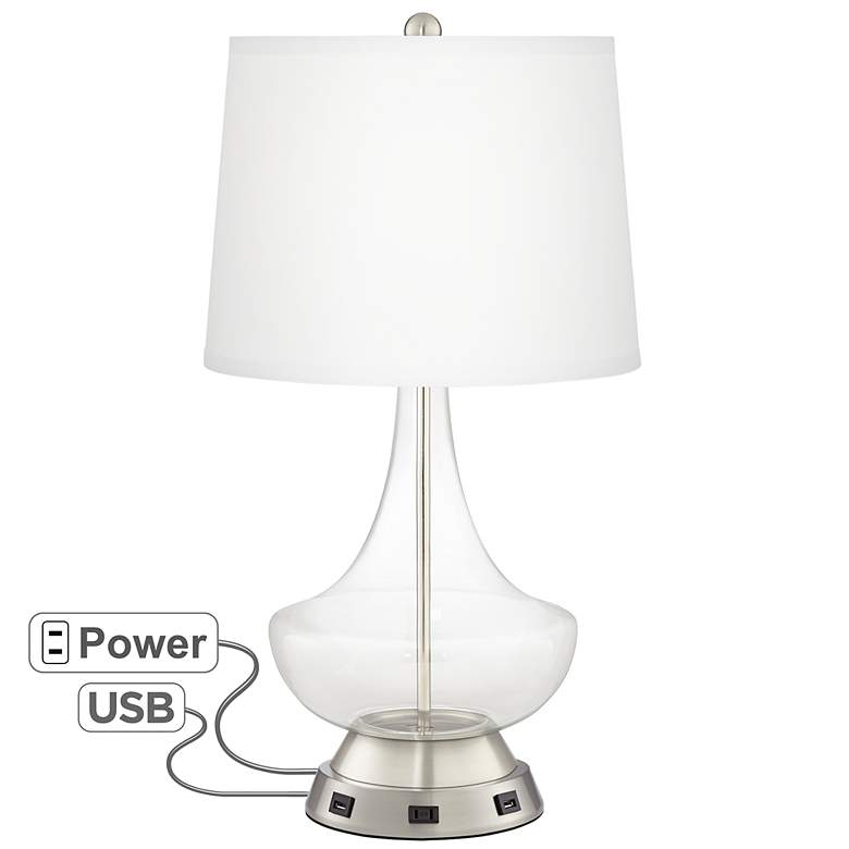 Clear Glass Fillable Gillan Table Lamp with USB Workstation Base
