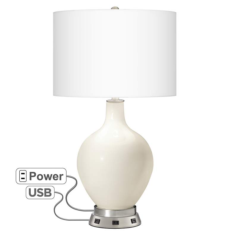West Highland White Ovo Table Lamp with USB Workstation Base