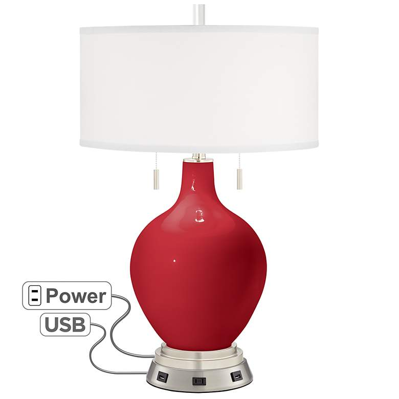 Ribbon Red Toby Table Lamp With Usb Workstation Base
