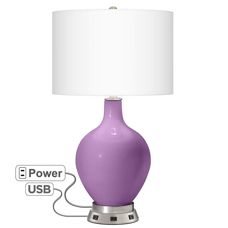 African Violet Ovo Table Lamp with USB Workstation