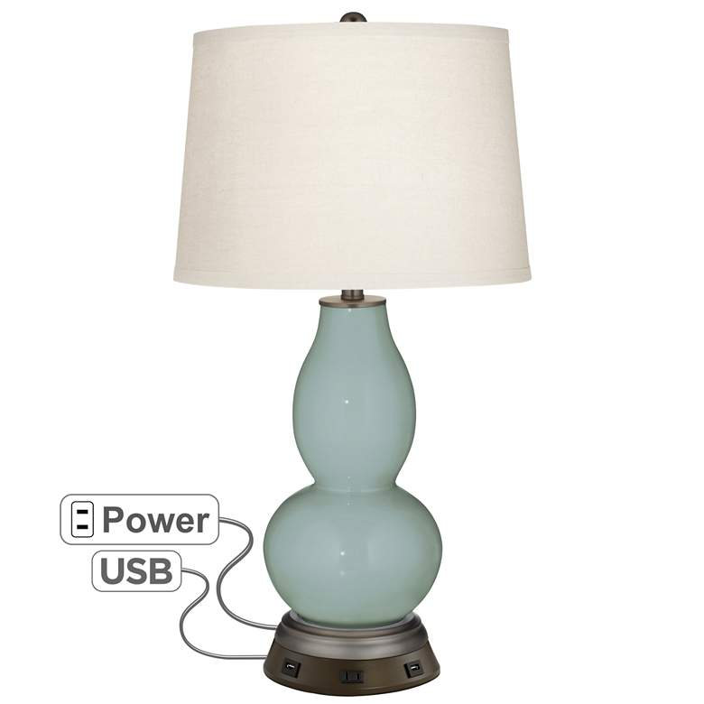 Aqua-Sphere Double Gourd Table Lamp with USB Workstation Base