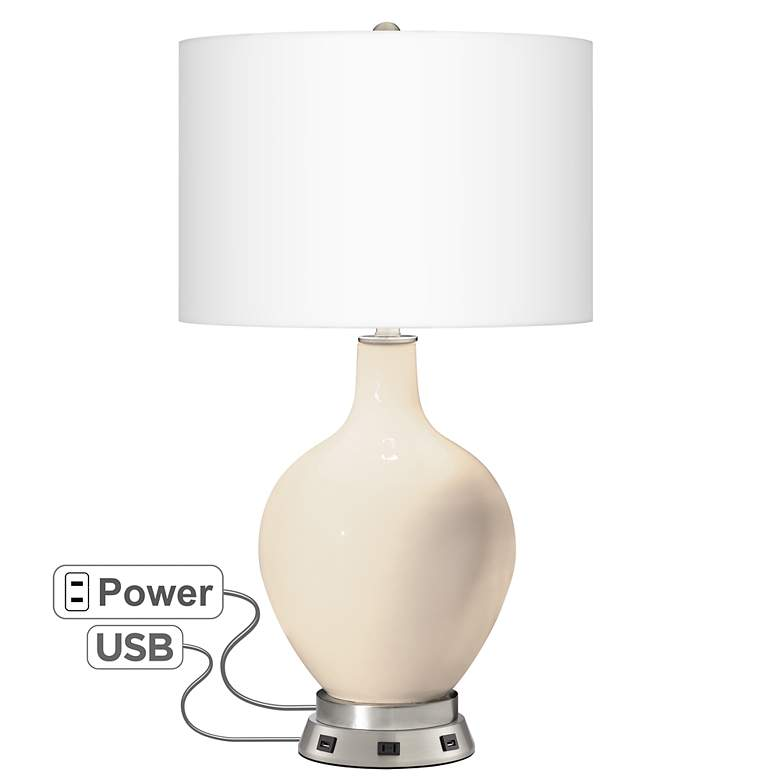 Steamed Milk Ovo Table Lamp with USB Workstation Base
