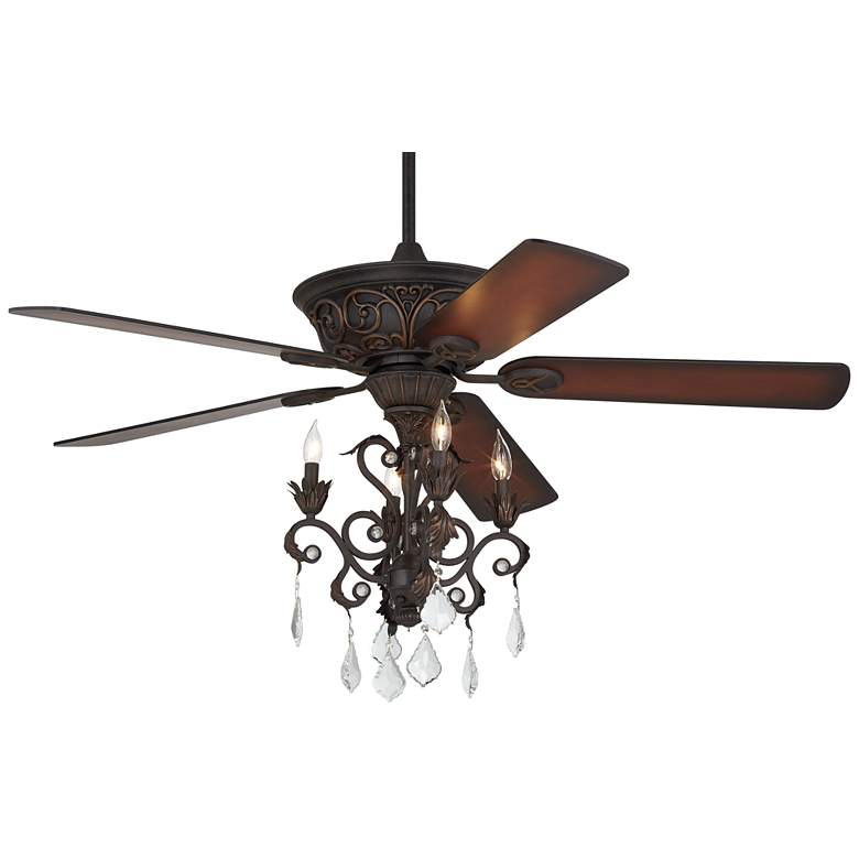"52"" Casa Contessa™ Dark Bronze Chandelier LED Ceiling Fan"