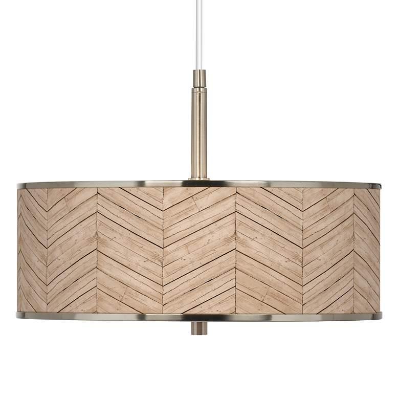 "Rustic Woodwork Giclee Glow 16"" Wide Pendant Light"