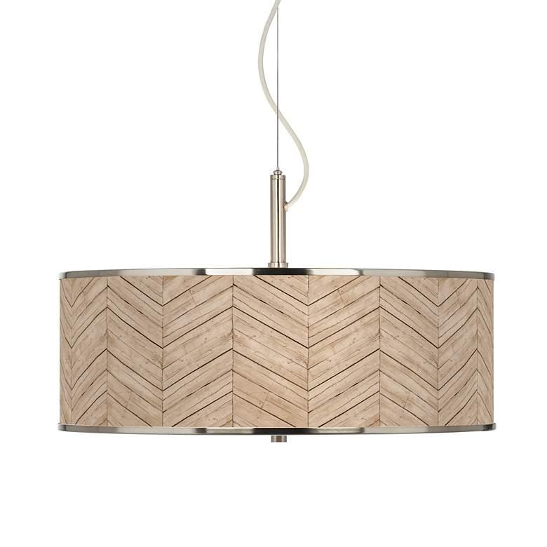 "Rustic Woodwork Giclee Glow 20"" Wide Pendant Light"