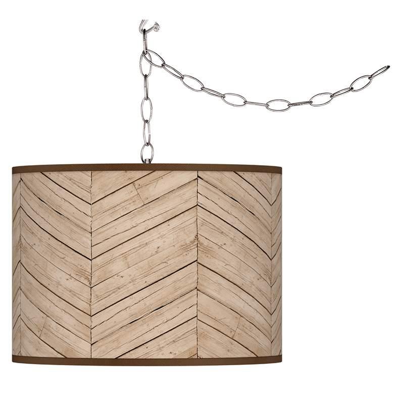 Rustic Woodwork Giclee Glow Plug-In Swag Pendant