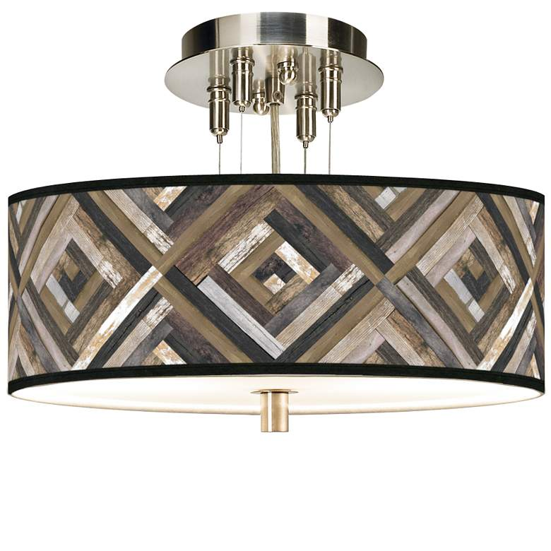 "Woodwork Diamonds Giclee 14"" Wide Ceiling Light"