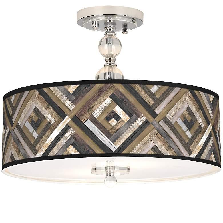 "Woodwork Diamonds Giclee 16"" Wide Semi-Flush Ceiling Light"