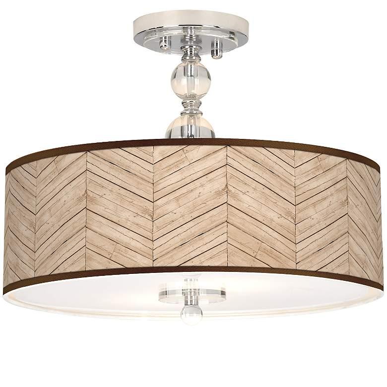 "Rustic Woodwork Giclee 16"" Wide Semi-Flush Ceiling Light"