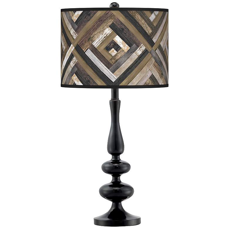 Woodwork Diamonds Giclee Paley Black Table Lamp