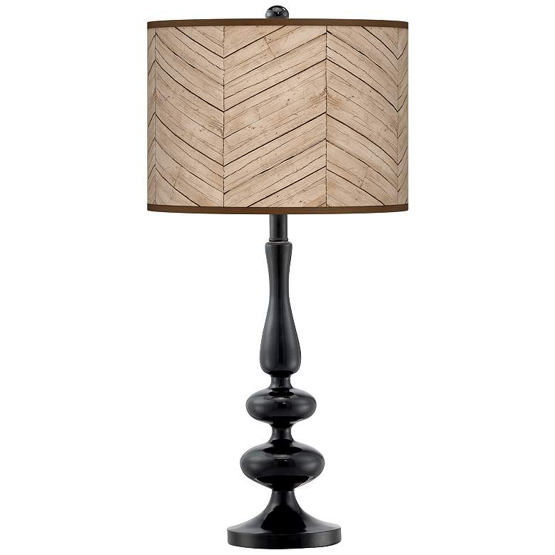 Rustic Woodwork Giclee Paley Black Table Lamp