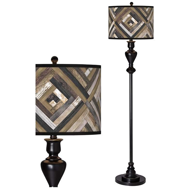 Woodwork Diamonds Giclee Glow Black Bronze Floor Lamp