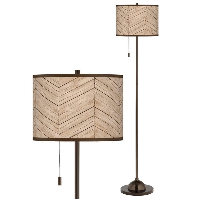 Rustic Woodwork Giclee Glow Bronze Club Floor Lamp