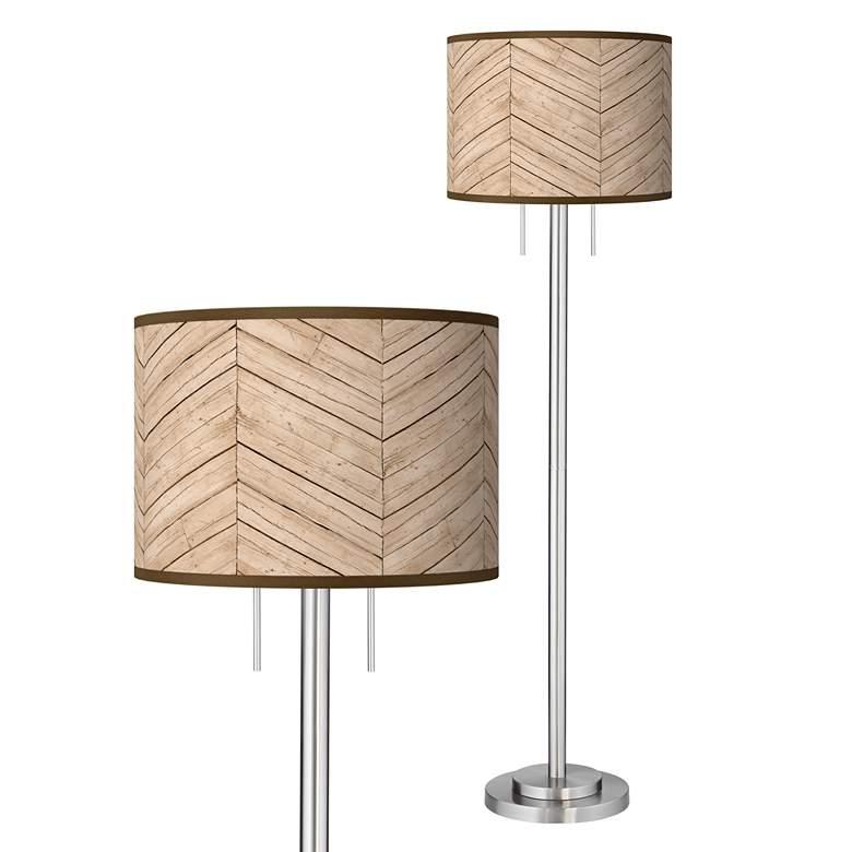 Rustic Woodwork Giclee Brushed Nickel Garth Floor Lamp