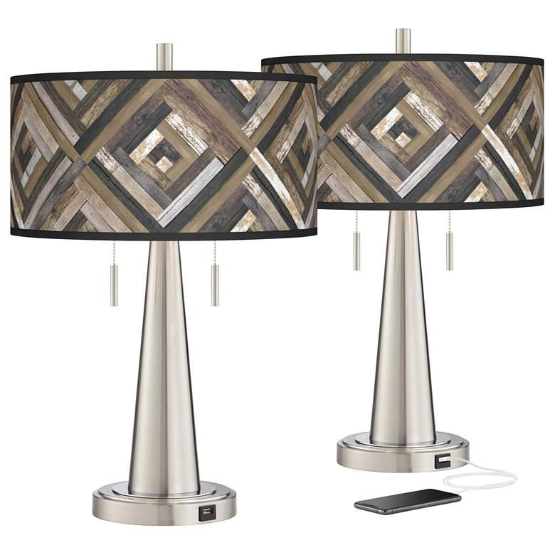 Woodwork Diamonds Vicki Brushed Nickel USB Table Lamps Set of 2