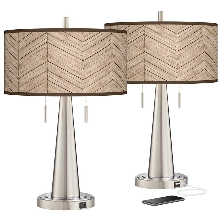 Rustic Woodwork Vicki Brushed Nickel USB Table Lamps