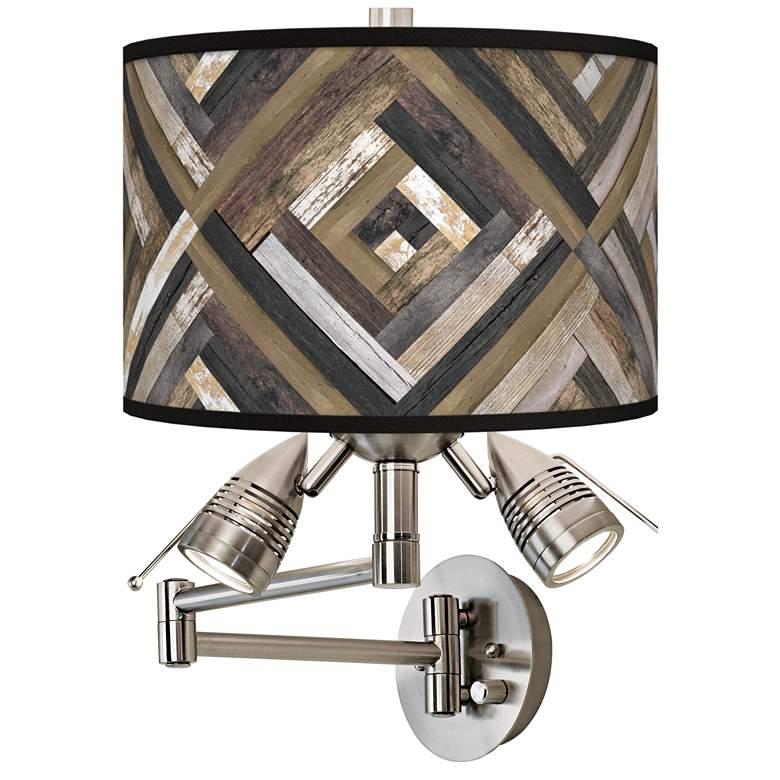 Woodwork Diamonds Plug-In Swing Arm Wall Lamp