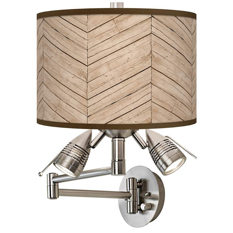 Rustic Woodwork Giclee Plug-In Swing Arm Wall Lamp