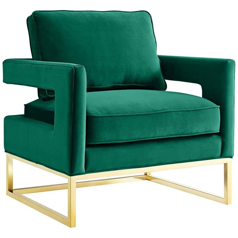 Avery Green Velvet Armchair with Gold Legs