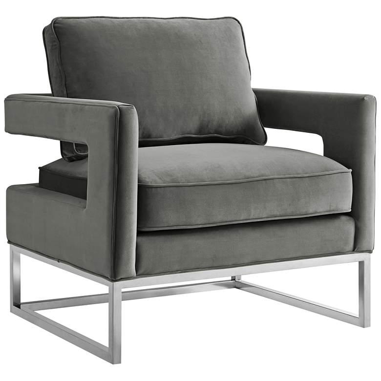 Avery Gray Velvet Armchair with Silver Legs