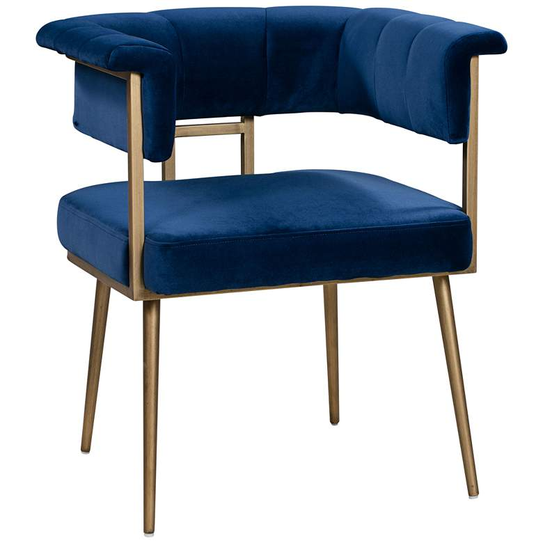 Astrid Navy Velvet Dining Chair with Rolled Arms