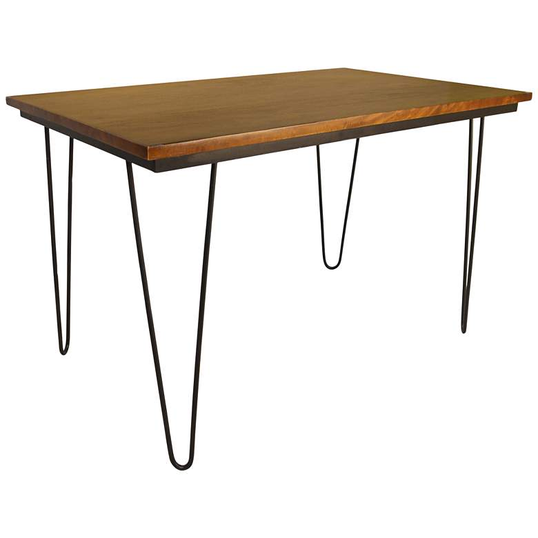 """Griffith 48"""" Wide Elm Wood and Black Iron Dining Table"""