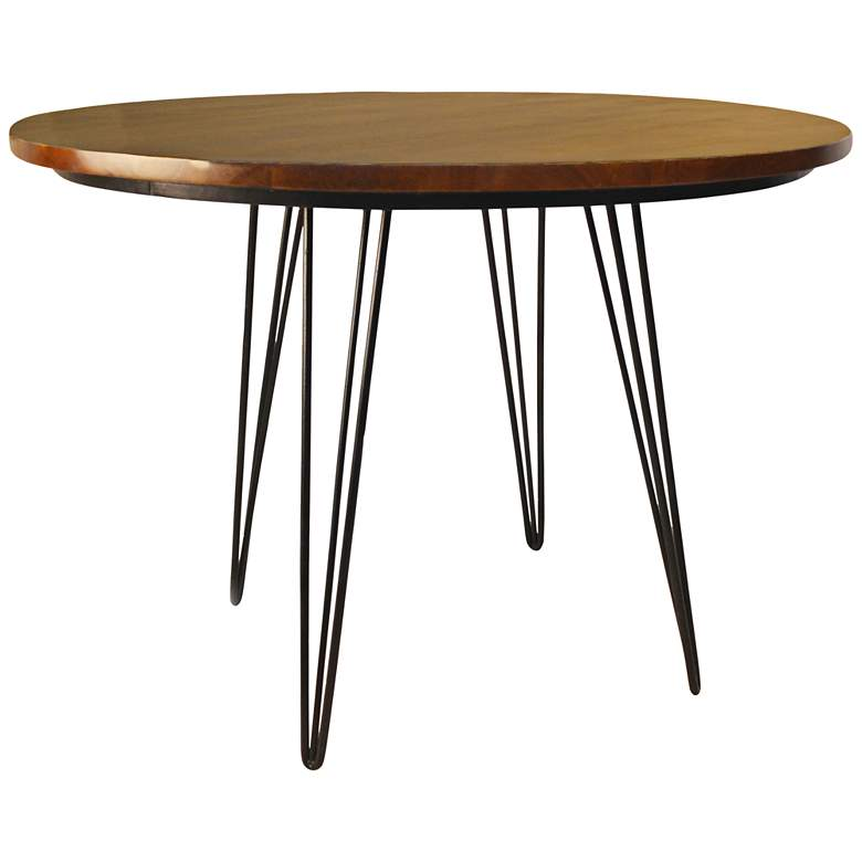 """Griffith 42"""" Wide Elm Wood and Black Iron Round Dining Table"""