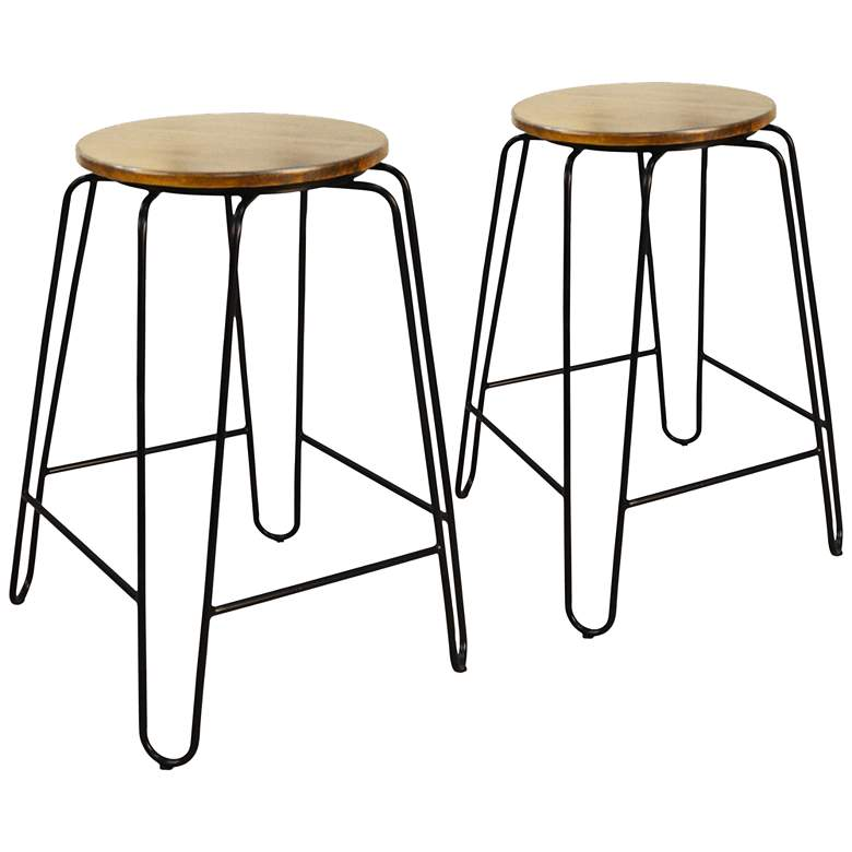 Ethan 24 Quot Maple Wood And Black Counter Stools Set Of 2