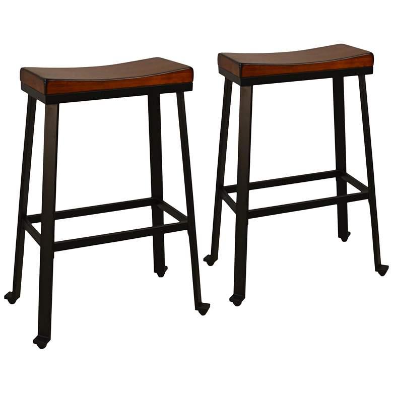 """Thea 30"""" Chestnut Wood Saddle Seat Bar Stools Set of 2"""
