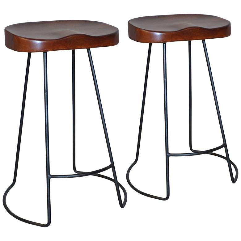 "Saga 25 1/2"" Chestnut Scooped Seat Counter Stools Set of 2"