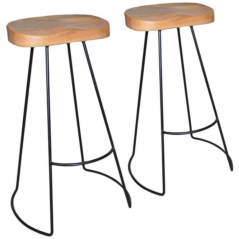 "Saga 31"" Natural Wood Scooped Seat Bar Stools Set of 2"