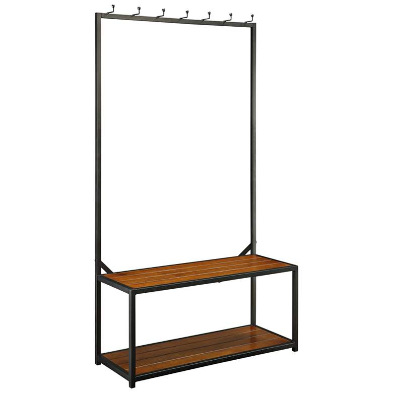 Sonoma Chestnut and Black Hall Bench w/ 7-Hook Hanging Rack