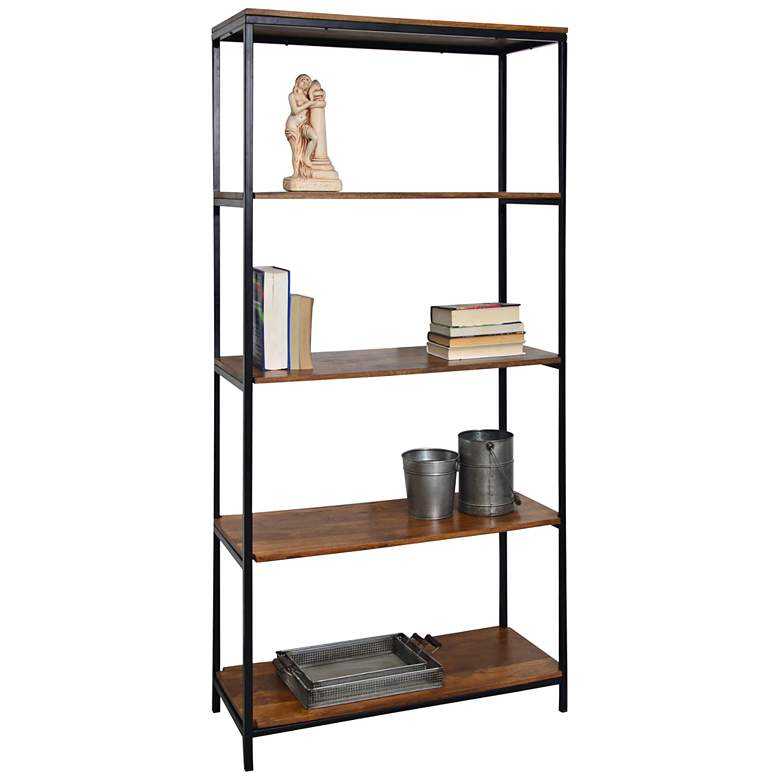 "Brayden 72"" High 4-Shelf Black Steel Chestnut Wood"